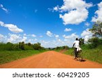 Ugandan road - stock photo
