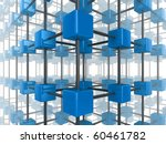 High quality illustration of a network of glossy blue green cubes, connected by a wire frame - stock photo