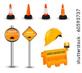 Under construction items set. Vector illustration - stock vector