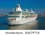 Big luxury cruise ship with Helsinki on Background - stock photo