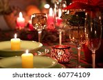 Beautiful place setting for Christmas - stock photo