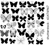 Big collection silhouette black butterflies for design isolated on white (vector) - stock vector