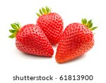 Three fresh strawberries isolated on white background. - stock photo