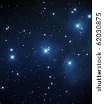 Messier 45, The Pleiades Star Cluster - stock photo