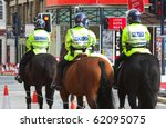 mounted police unit in United Kingdom - stock photo