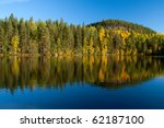 Beautiful photography of autumn on lake in Finland - stock photo