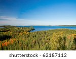 View on finnish landscape - Land of thousands lakes surrounded by forests - stock photo