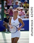 Anna Kournikova After Defeating Nathalie Tauziat At 2000 Acura Tennis Classic - stock photo