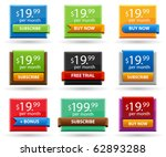 Colored price tags, set of glossy sale tags - stock vector