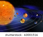 Diagram of planets in solar system - 3d render - stock photo