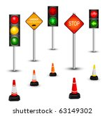 Traffic sign and traffic lamps, vector illustration - stock vector