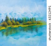 Summer scene of landscapes with river, this is oil painting and I am author of this image - stock photo