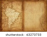36 Map of South America edit in a travel guide of 1888 - stock photo