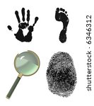 Finger print, hand print, foot print. Crime scene investigation. - stock vector