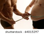Two men comparing their condition - stock photo