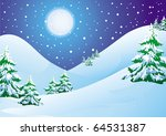 Night winter landscape: snow hills and pines - stock vector