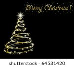 Abstract golden christmas tree on black background. - stock vector
