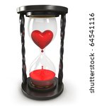 Hourglass with heart and blood - stock photo