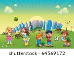 Boys and girls are playing in the park. Funny cartoon and vector scene. - stock vector