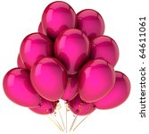 Part birthday balloons pink colored love. Greeting card design element concept. Retirement graduation anniversary happy joy positive emotion abstract. Detailed 3d render. Isolated on white background - stock photo