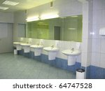 Fresh restroom area in public comfort zone - stock photo