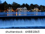 Philadelphia Boathouse Row at Twilight - stock photo