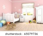 Girls´s  room in pink walls with bed and toys on the floor - stock photo