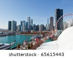The Chicago Skyline and Navy Pier along the lake shore - stock photo