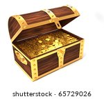 Wooden treasure chest with gold coins printed with royal crown - 3d render - stock photo