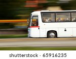 Summer vacation and travel by bus - stock photo