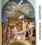 Nativity scene, creche, or crib, is a depiction of the birth of Jesus - stock photo