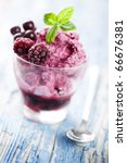delicious frozen berry dessert, focus on the front berry - stock photo