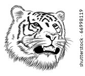 Vector tiger represented in the form of a tattoo - stock vector