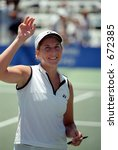 Monica Seles Acknowledges The Crowd At 2001 Acura Classic - stock photo
