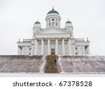 The winter view of the Lutheran Cathedral in Helsinki, Finland - stock photo