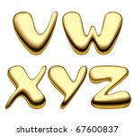 Vector image of gold alphabet capital letters - stock vector