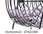 Bingo Drawing Balls in Cage - stock photo