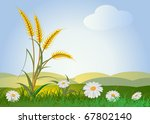 ears of wheat with landscape, sky and flowers - stock vector