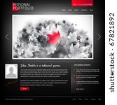 black stylish website template for personal portfolio - perfect for photographers and designers - stock vector