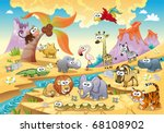 Savannah animal family with background. Funny cartoon and vector illustration, isolated objects. - stock vector