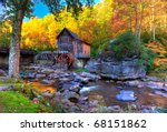 Fall colors in the mountains of West Virginia and old grist mill - stock photo