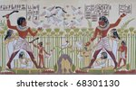 Ancient Egyptian hieroglyphics - replica on plaster wall - stock photo