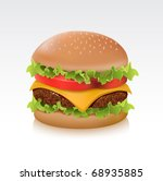 Delicious juicy cheeseburger - stock vector