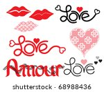 Words of Love,  Lips, and a Heart with custom pattern. - stock vector