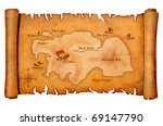 Pirate's treasure map on parchment - stock photo
