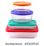 Stack of glass food containers isolated on white - stock photo