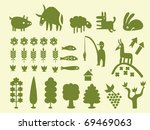 Set of simple cartoon silhouettes of trees and animals, vectorial - stock vector