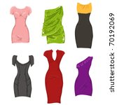 Set of female dresses - stock vector