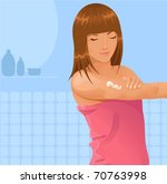 Girl applying cream to her arm - stock vector
