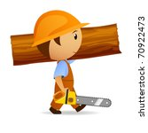 Vector illustration. Cartoon woodcutter with chain-saw and trunk on his shoulder - stock vector